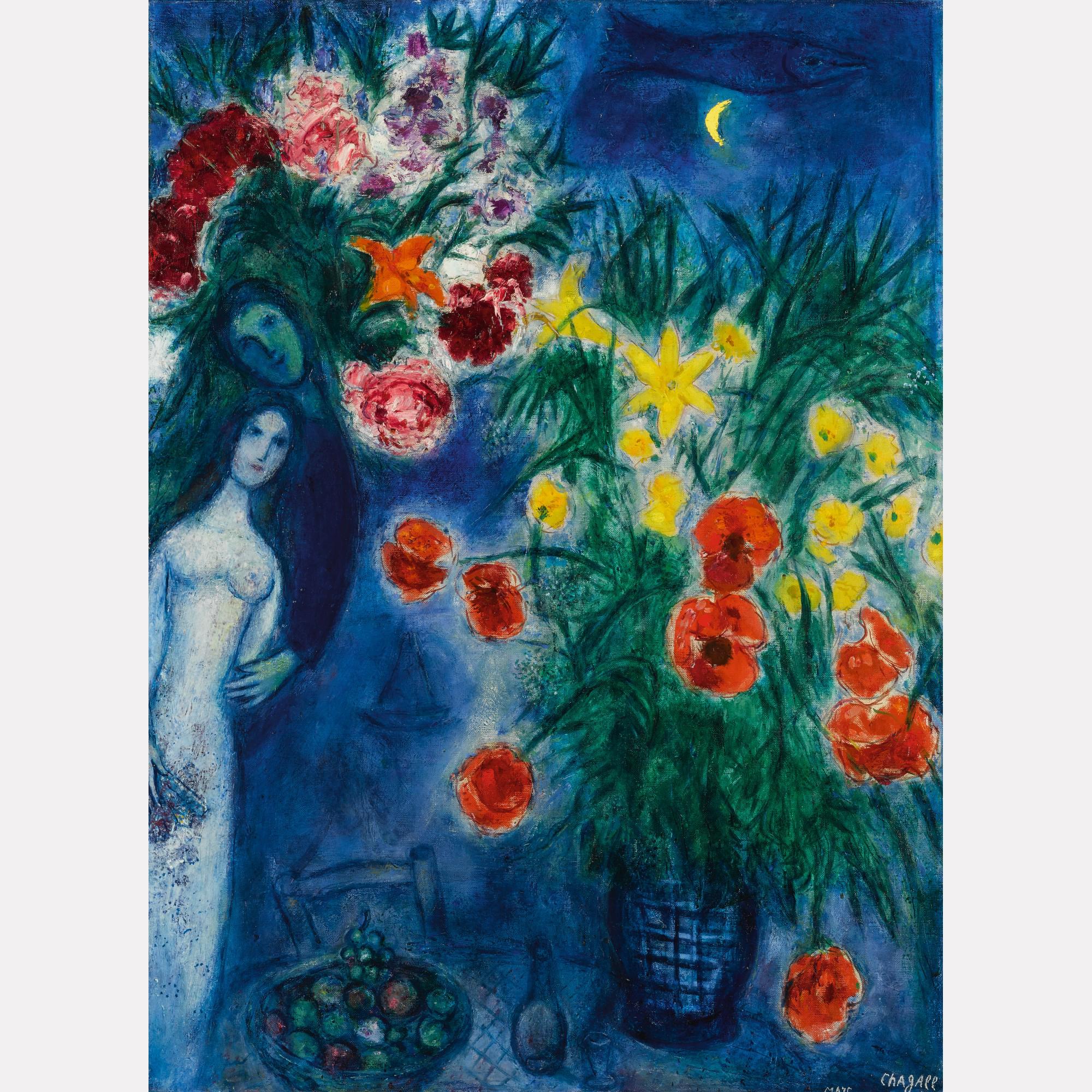 Марк Шагал. «Влюбленные среди маков» / © Аукционный дом Sotheby's