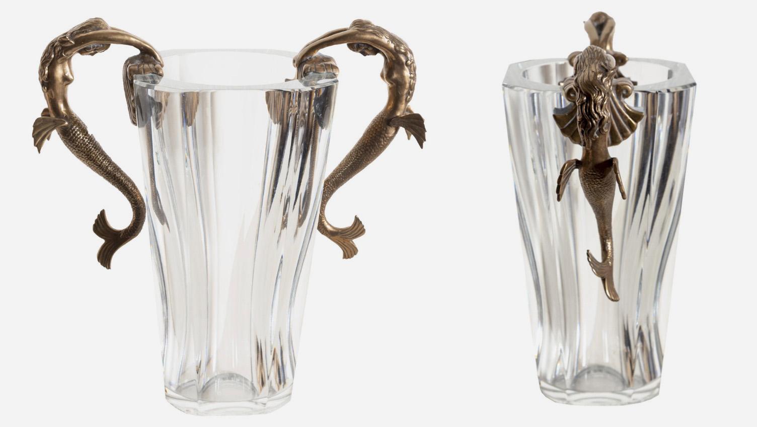 Эрте. Ваза из хрусталя Баккара с бронзовыми русалками, 1985