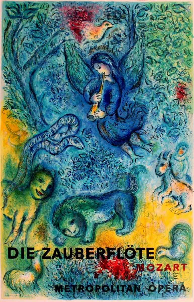 Афиша «Волшебной флейты» Моцарта, 1967 / Художник Марк Шагал