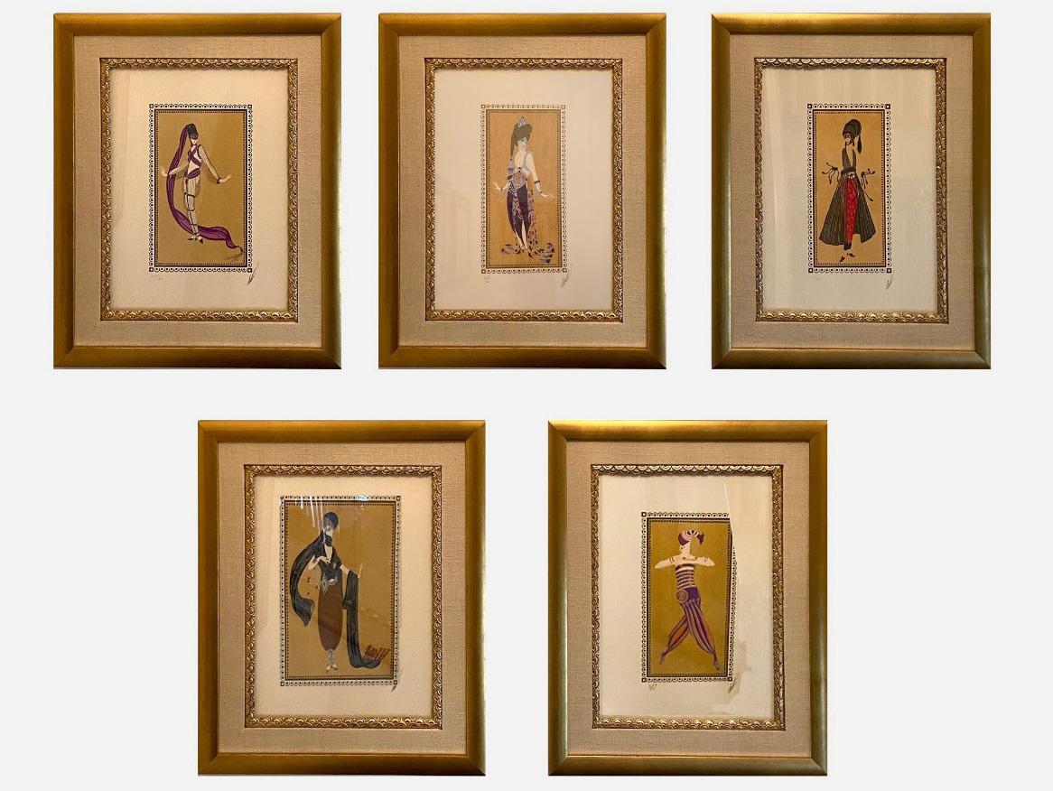 Эрте. Пять эскизов для костюма Шахерезады, 1988