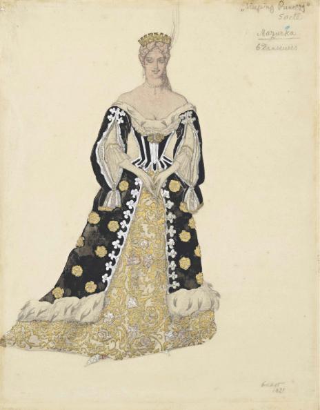 Лев Бакст, 1921 / Дизайн костюма для «Спящей красавицы»: танцовщица мазурки в золотом / £12,000-£18,000