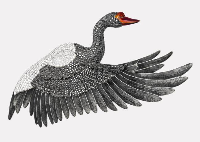 Брошь «Черный лебедь»