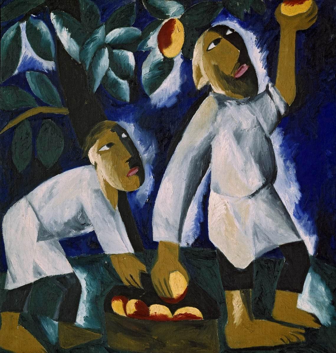 Наталья Гончарова. Крестьяне, собирающие яблоки, 1911