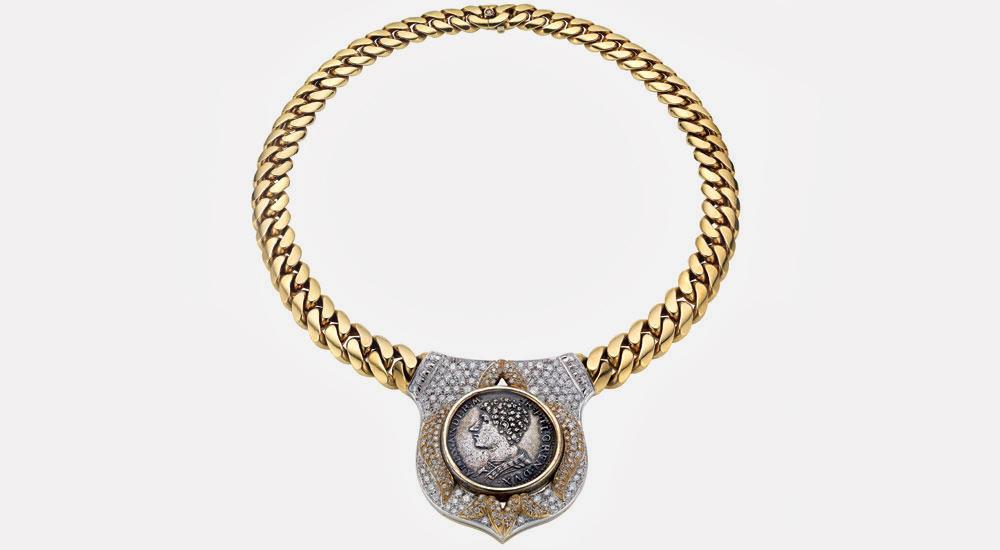 Ожерелье Bulgari из золота двух цветов с бронзовой флорентийской монетой эпохи Возрождения, ок. 1978