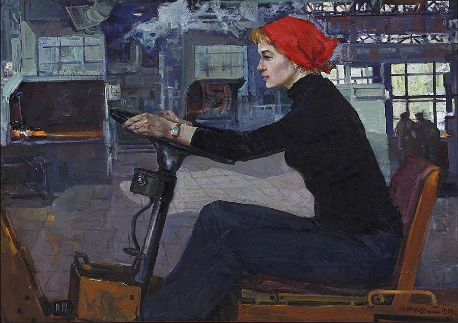 Виктор Куделькин. Марьям Василькова - водитель автопогрузчика. Завод КамАЗ, 1979