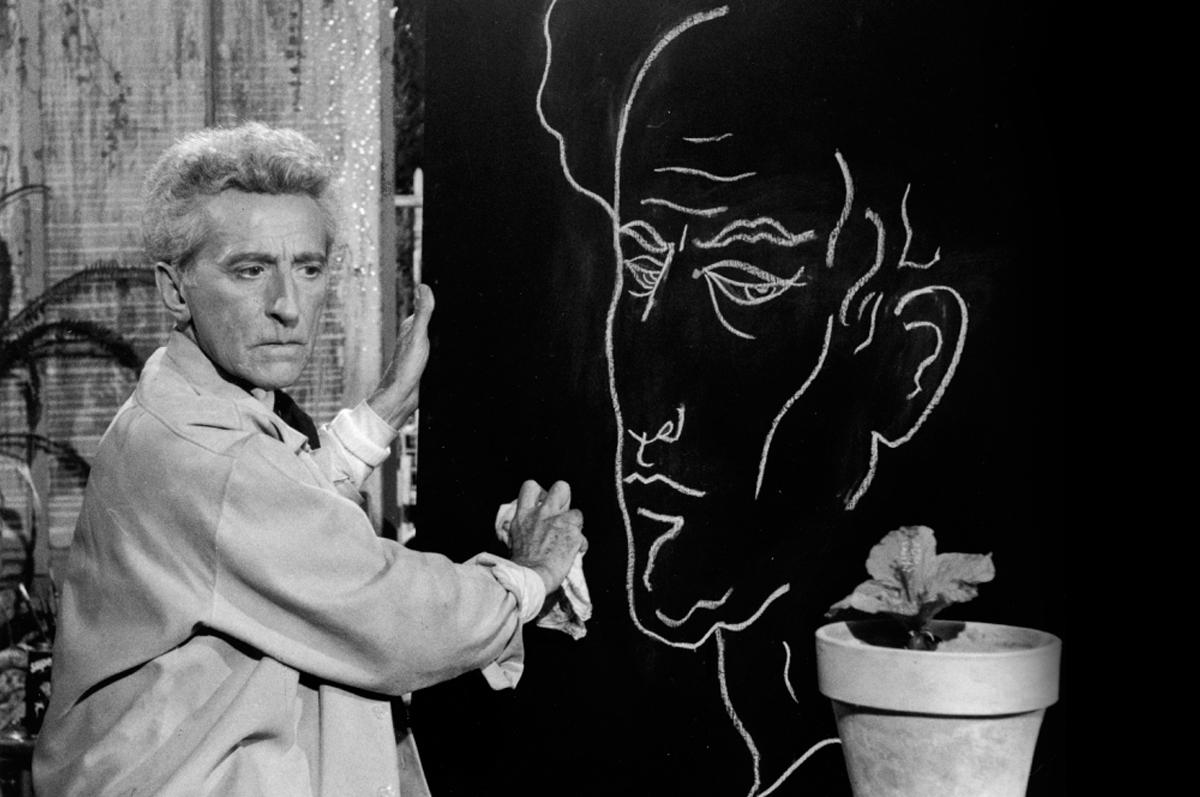Жан Кокто и автопортрет, 1959