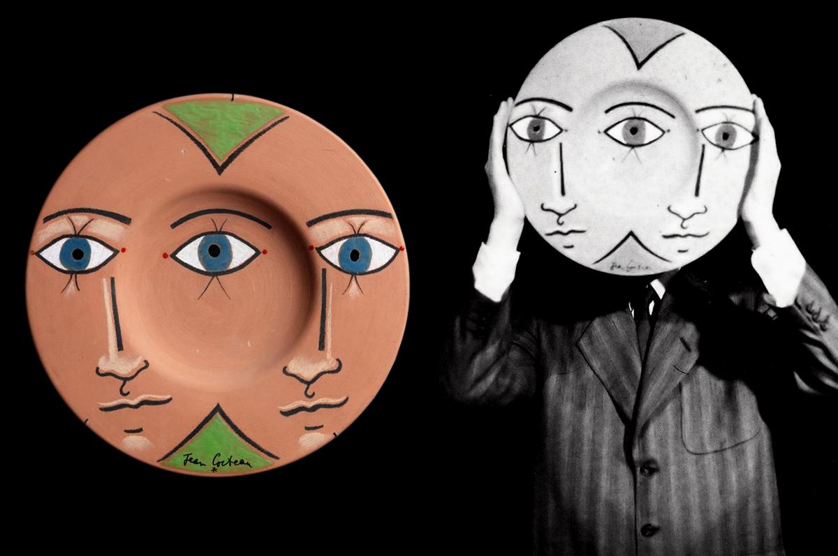 Три глаза / Les trois yeux. Жан Кокто со своим терракотовым блюдом, любимой работой Пикассо, 1968