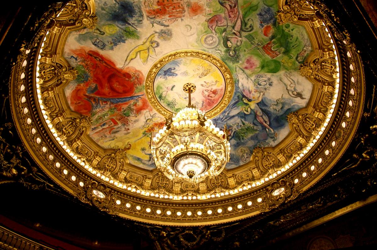 Плафон Парижской оперы, расписанный Марком Шагалом, 1964.