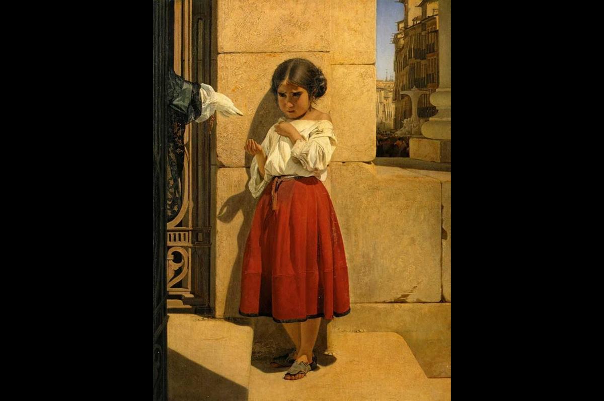 «Нищая девочка-испанка» Евграфа Сорокина, 1852. Государственная Третьяковская галерея, Москва