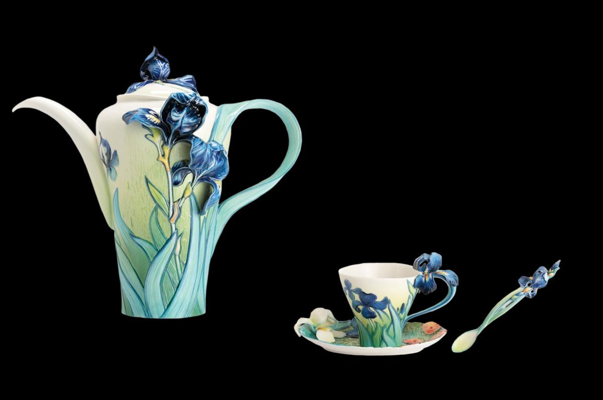Чайный набор, вдохновленный картиной Ван Гога «Ирисы» от фарфоровой марки «Franz».