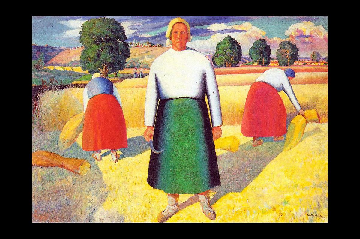 Казимир Малевич. Жницы, 1929. Масло, дерево / Государственный Русский музей, Санкт-Петербург