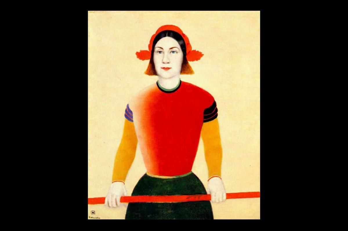 Казимир Малевич. Девушка с красным древком, 1932-1933. Холст, масло / Государственная Третьяковская галерея, Москва