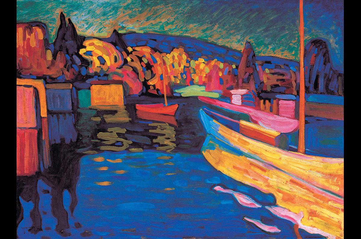 Василий Кандинский. Осенний пейзаж с лодками, 1908. Швейцария, коллекция Мерцбахера /  Wassily Kandinsky. Autumn Landscape with Boats,1908. The Merzbacher collection