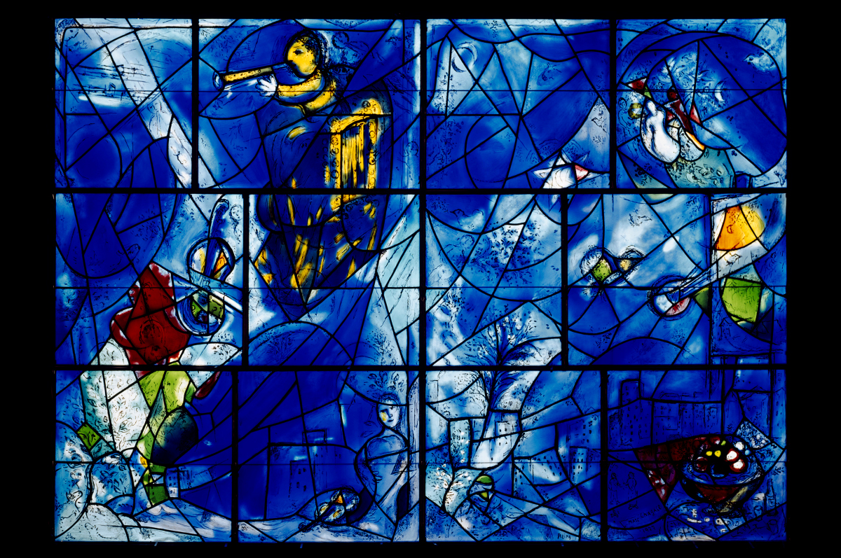 Марк Шагал. Витражная панель Института искусств в Чикаго «Окна Америки», 1977 / © Art Institute of Chicago