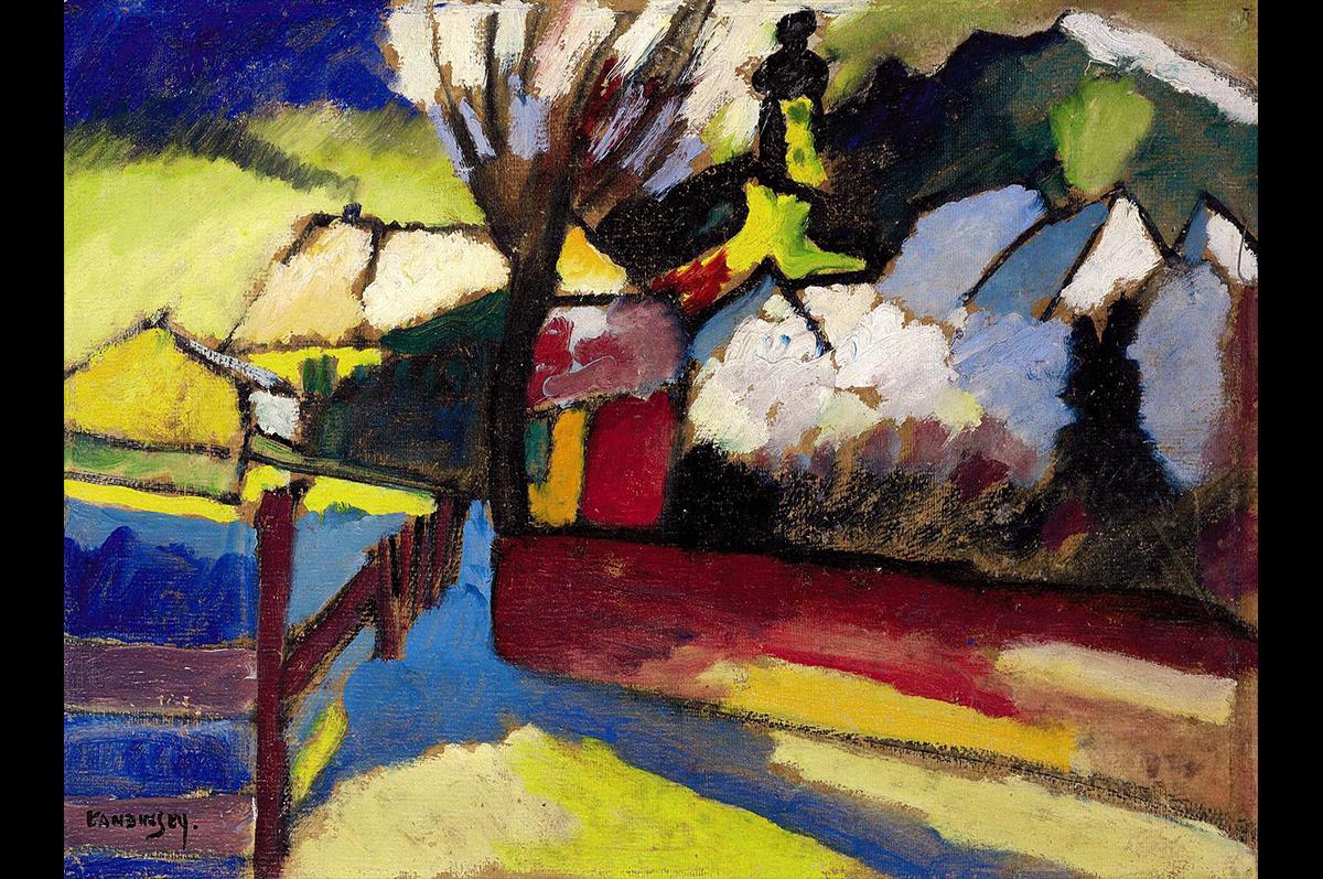 Василий Кандинский. Осенний пейзаж с деревом, 1910 / Wassily Kandinsky. Autumn Landscape with Tree, 1910