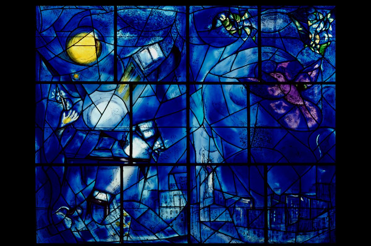 Марк Шагал. Витражная панель Института искусств в Чикаго «Окна Америки», 1977 / (с) Art Institute of Chicago