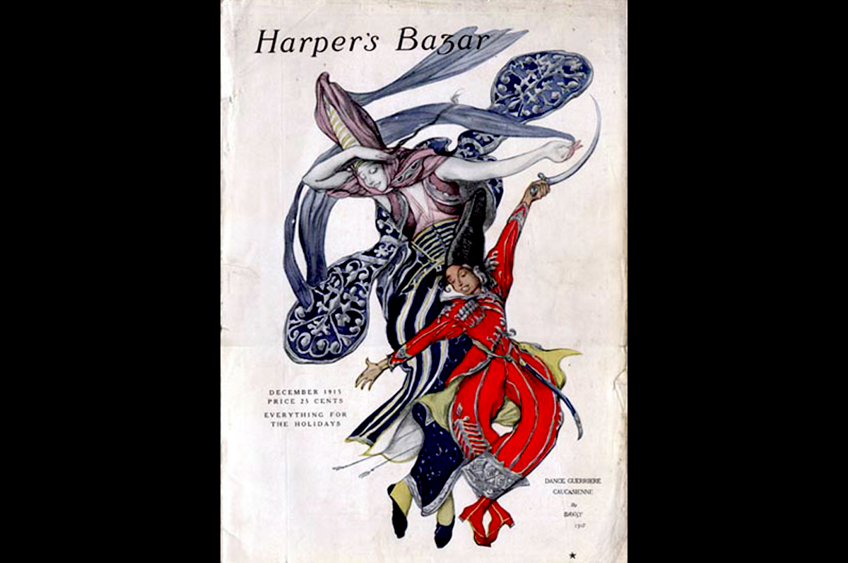 Лев Бакст. На обложке для «Harper's Bazar» танцует кавказская пара, январь 1915