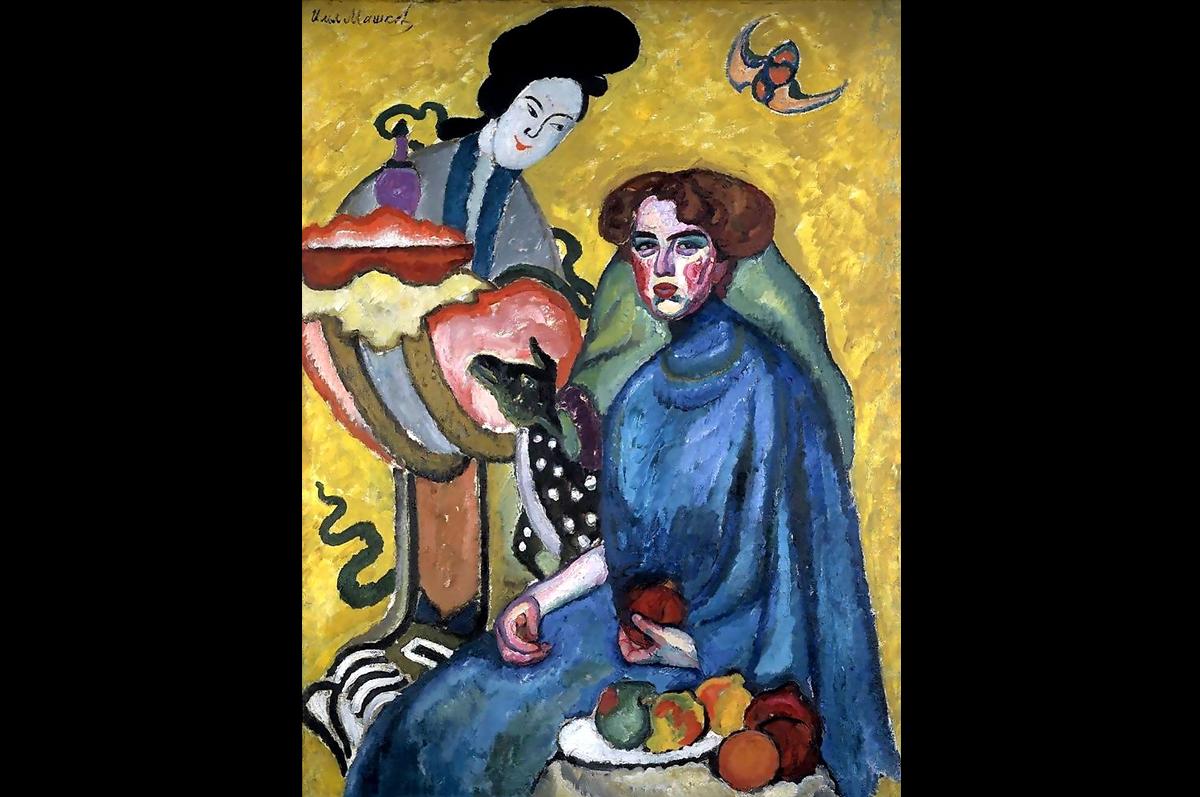 Илья Машков. Портрет Евгении Ивановны Киркальди (Дама с китаянкой), 1910