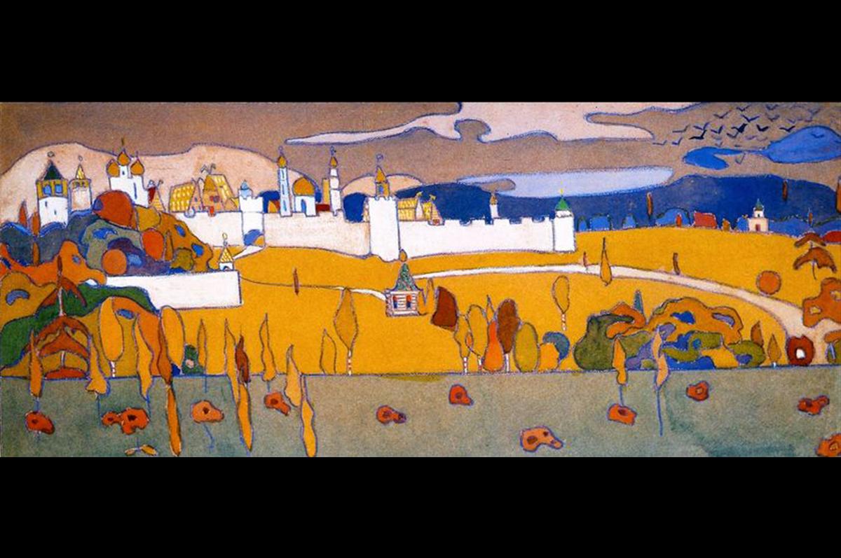 Василий Кандинский. Крепость в осеннем пейзаже, 1902. Мюнхен, Германия. Городская галерея в Ленбаххаузе / Wassily Kandinsky. Walled City in Autumn Landscape, 1902. Munich, The Städtische Galerie im Lenbachhaus