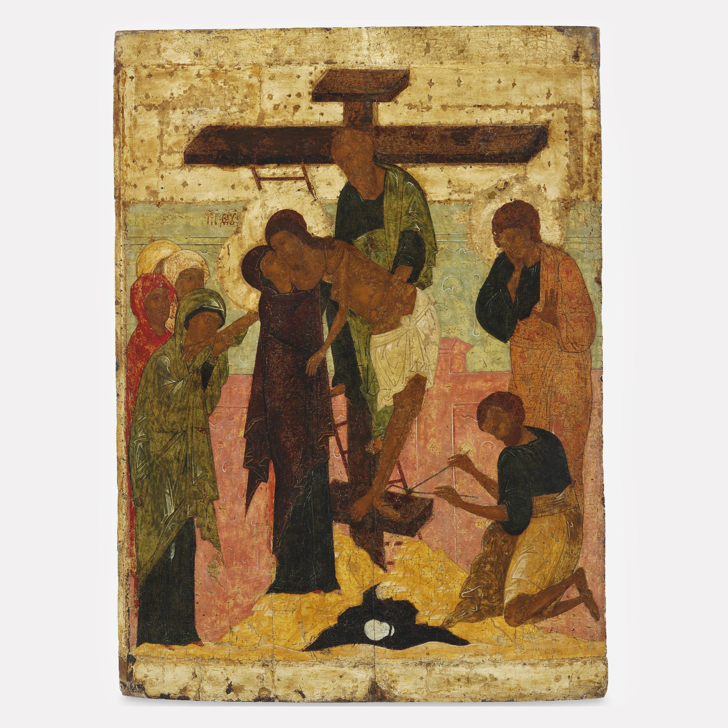Икона «Снятие с креста», 16 век, Новгородская школа