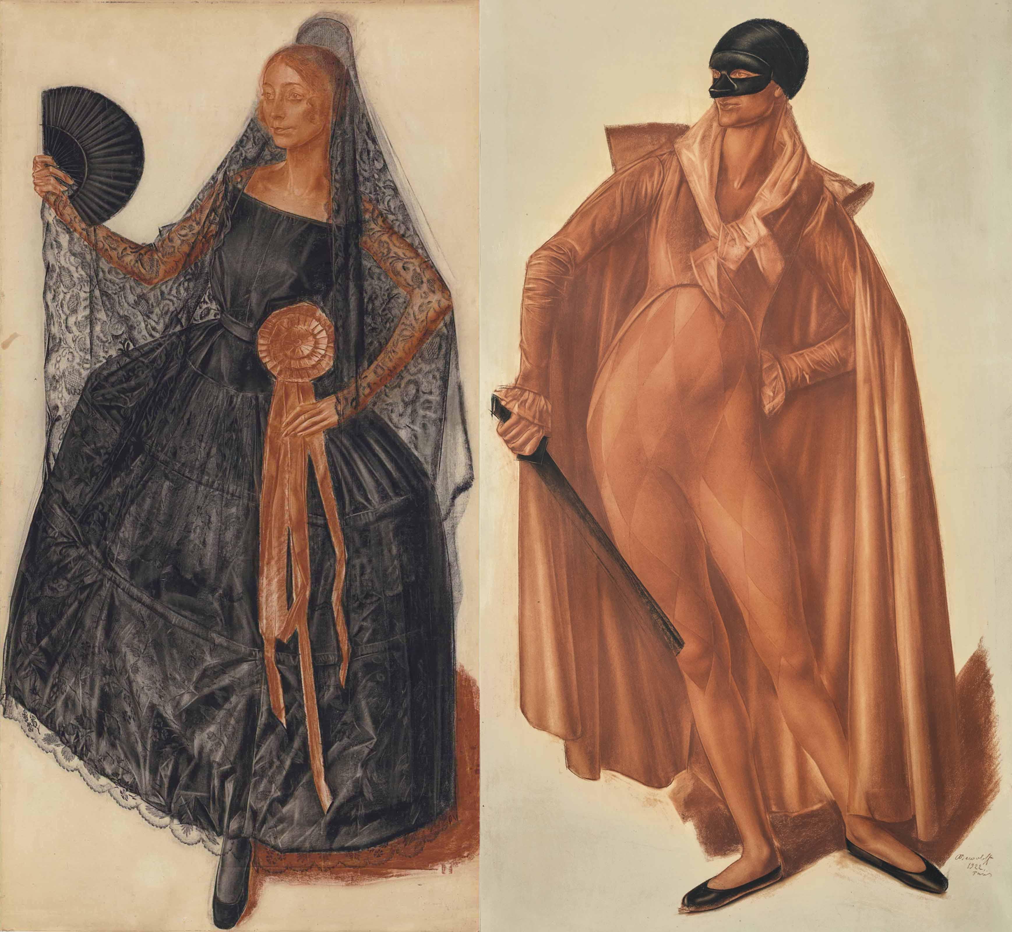 Александр Яковлев. «Танцовщица в испанском костюме» (1924) / «Арлекин» (1922)