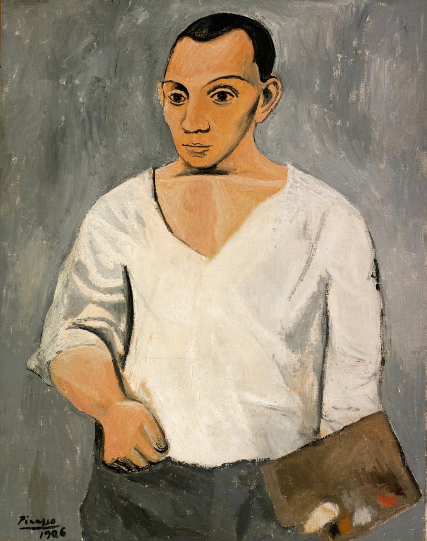 Пабло Пикассо. Автопортрет с мольбертом, 1906