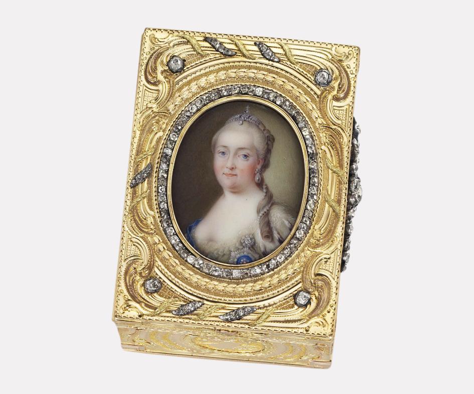 Золотая табакерка в бриллиантах с портретом Елизаветы Петровны, ок. 1760