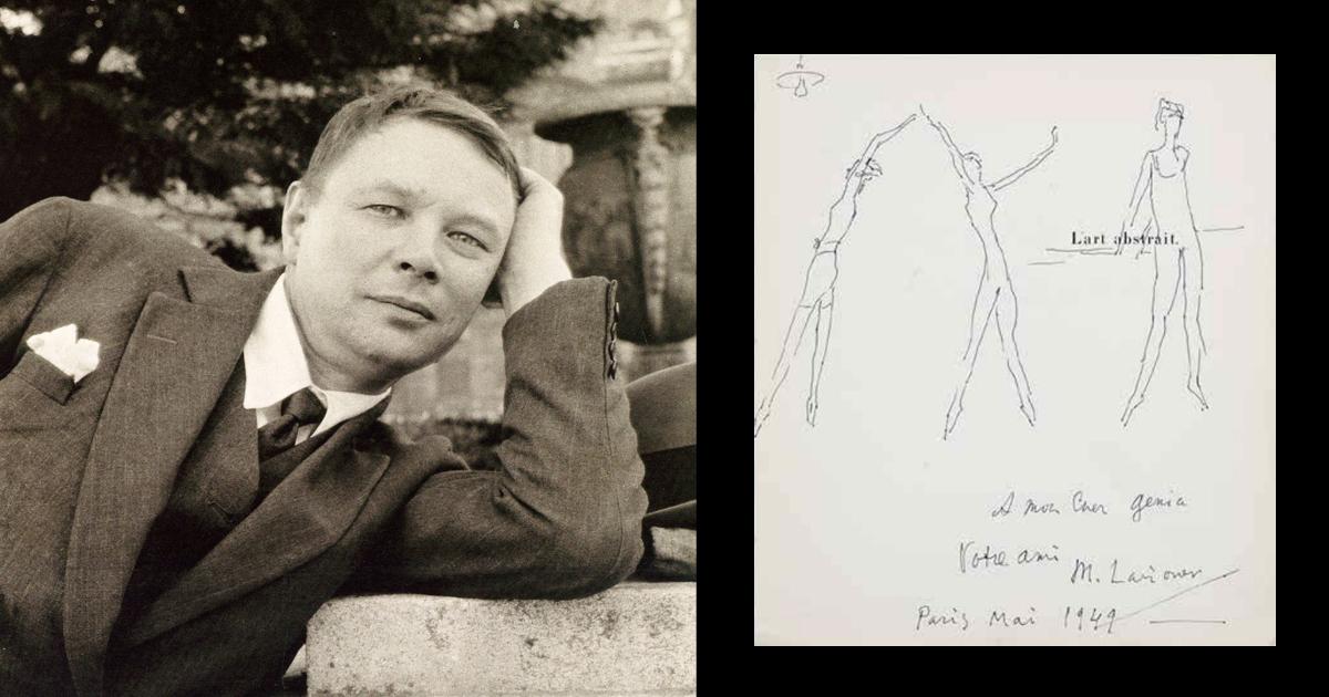 Фотография М.Ф. Ларионова / рисунок М.Ф. Ларионова на странице книги Seuphor M. «М. l'art Abstrait: Ses origines. Ses premiers maitres»