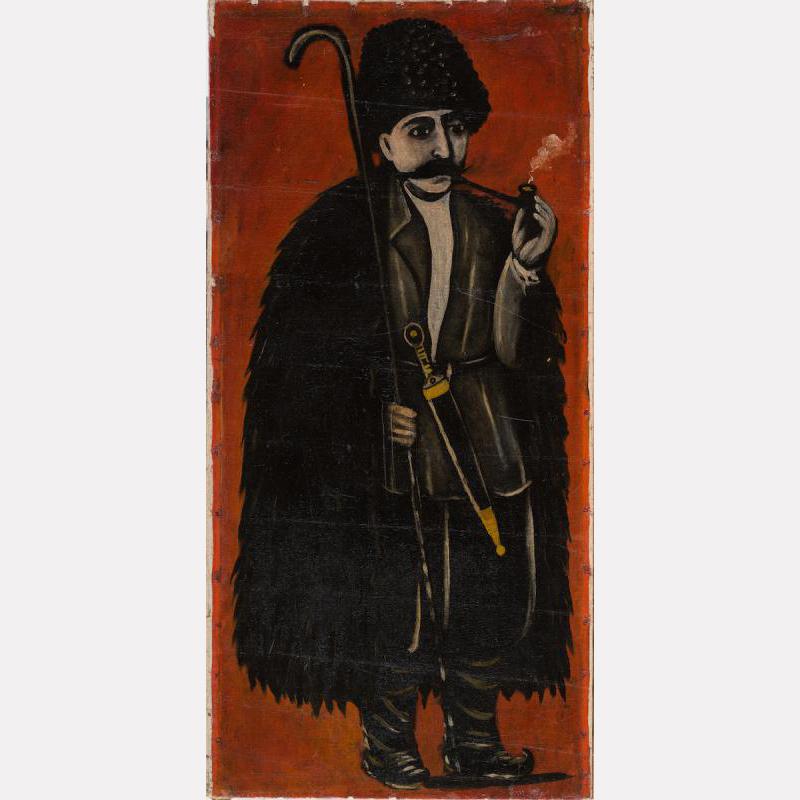 Нико Пиросмани (Пиросманашвили). Пастух в бурке (на красном фоне)