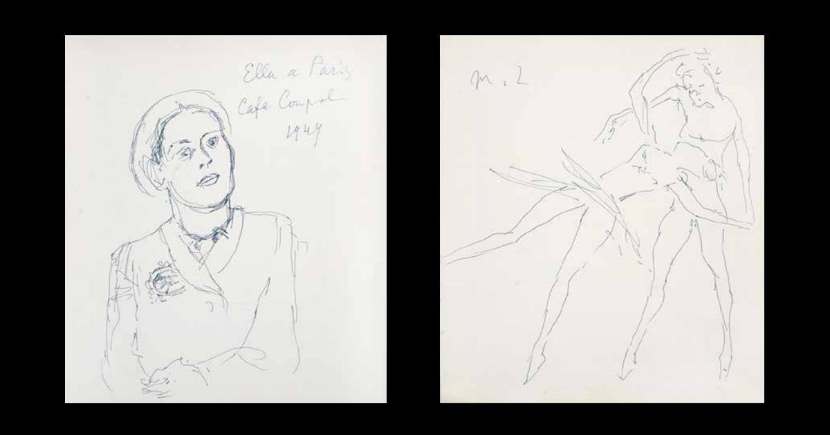 Рисунки М.Ф. Ларионова на странице книги Seuphor M. «М. l'art Abstrait: Ses origines. Ses premiers maitres»