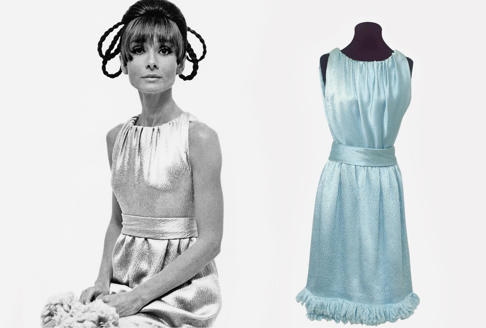 Голубое коктейльное платье из атласа / дизайнер Юбер де Живанши