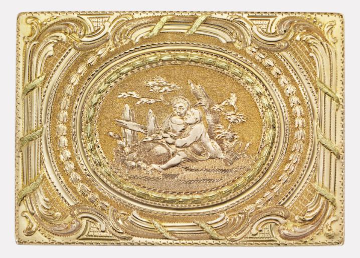 Золотая табакерка в бриллиантах с портретом Елизаветы Петровны, ок. 1760 (фрагмент)