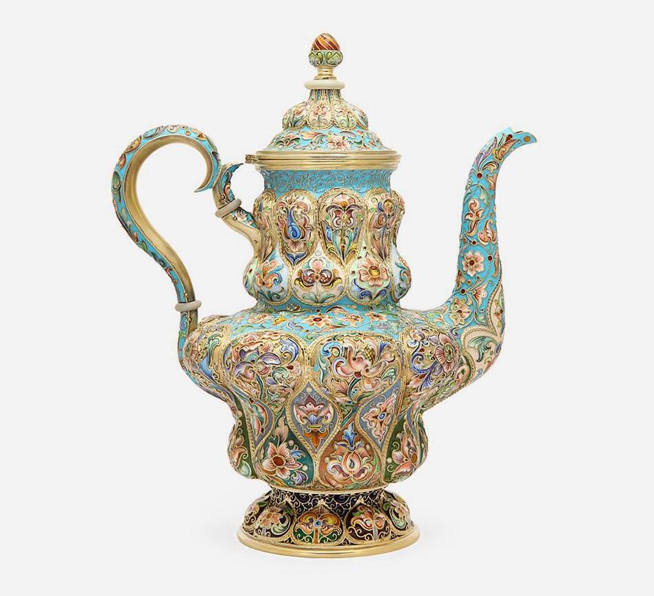 Чайник Fabergé, ок. 1896-1908. Мастер Федор Рукерт. Позолоченное серебро, перегородчатая эмаль