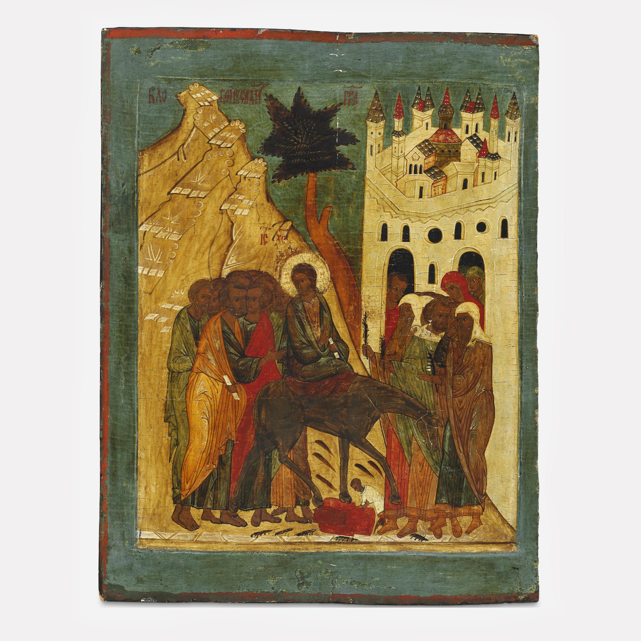 Икона «Вход Господень в Иерусалим», 16 век, Новгородская школа