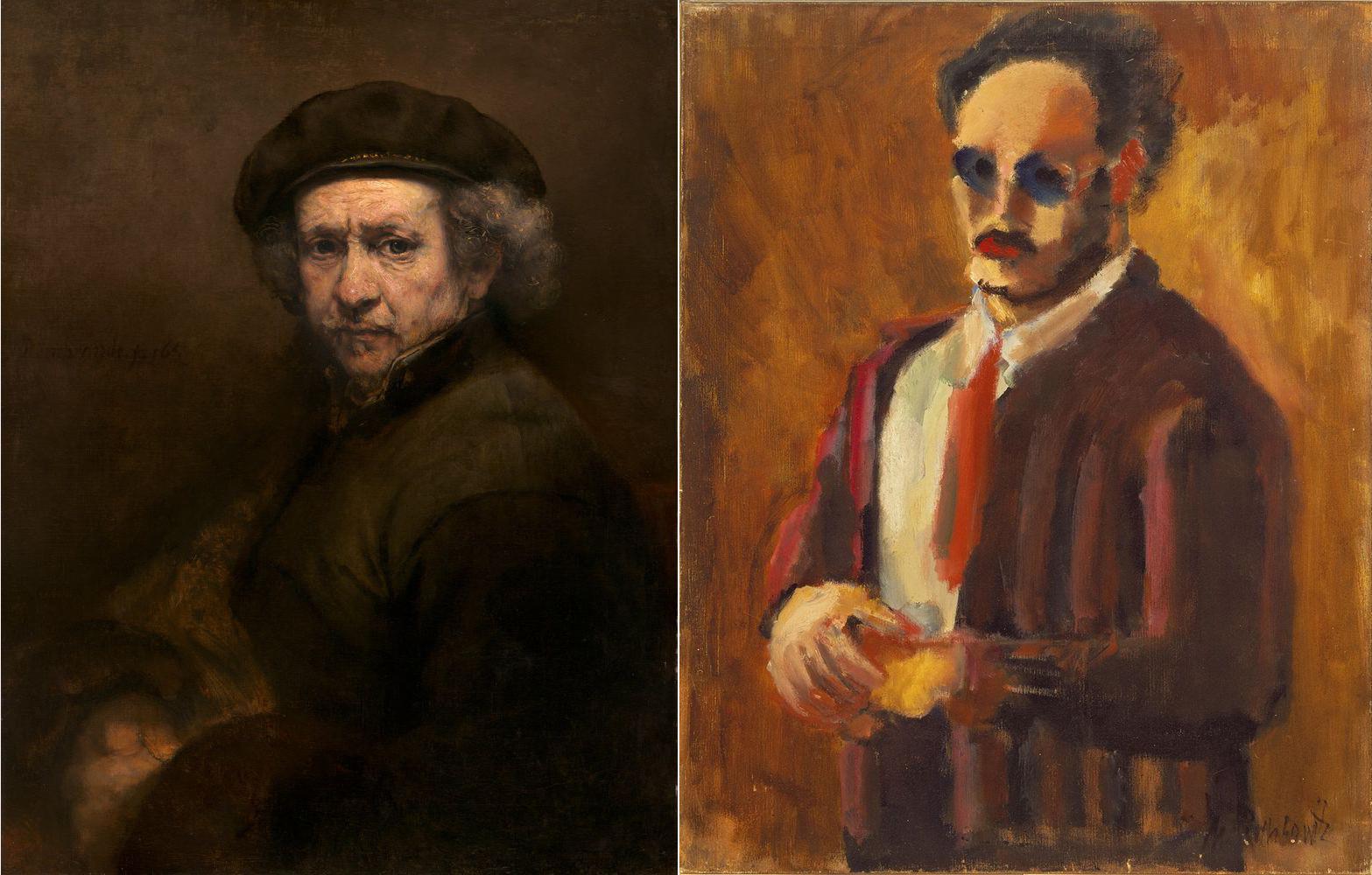 Рембрандт ван Рейн. Автопортрет, 1659, Марк Ротко. Автопортрет, 1936