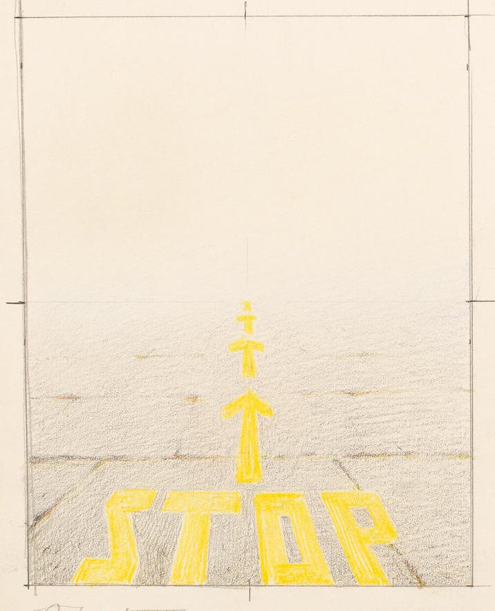 Эрик Булатов. Набросок к картине «STOP», 1988