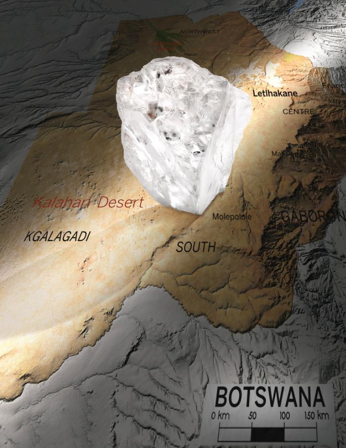 Картография алмаза «Lesedi la Rona»