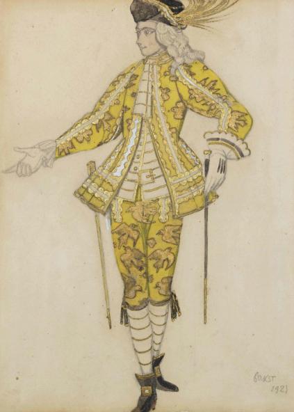Лев Бакст, 1921 / Дизайн костюма для «Спящей красавицы»: паж феи Канарейки / £20,000-£30,000