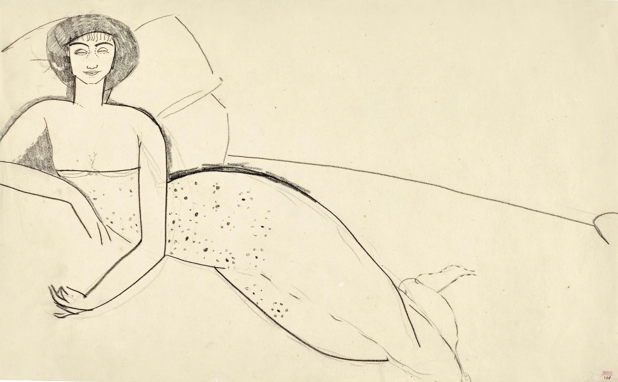 Женщина в свободном платье на кровати (Анна Ахматова), Модильяни