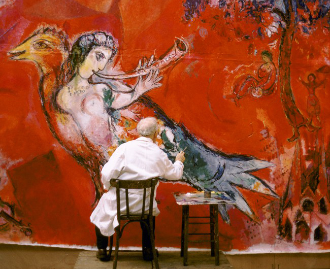Роспись Марком Шагалом панно для Метрополитен-опера, 1966