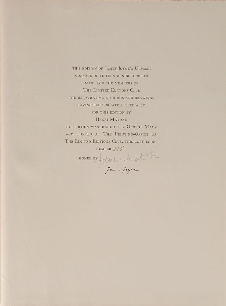 Колофон издания книги Джеймса Джойса «Улисс», 1935