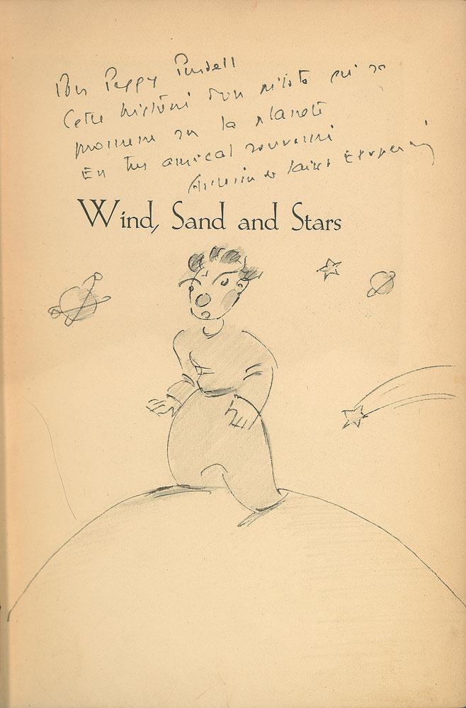 Титульный лист книги Антуана де Сент-Экзюпери «Ветер, песок и звезды», 1939