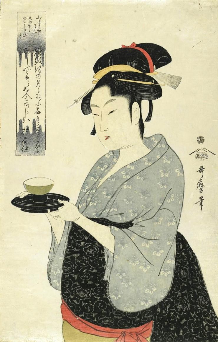 Китагава Утамаро. Официантка Окита из чайного домика Нанива-я, 1790-е