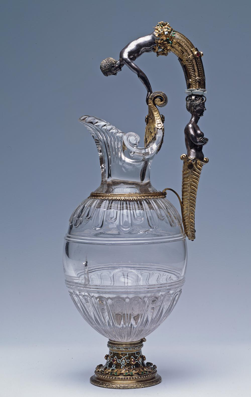 Хрустальный кувшин с ручкой в виде Нарцисса и Русалки