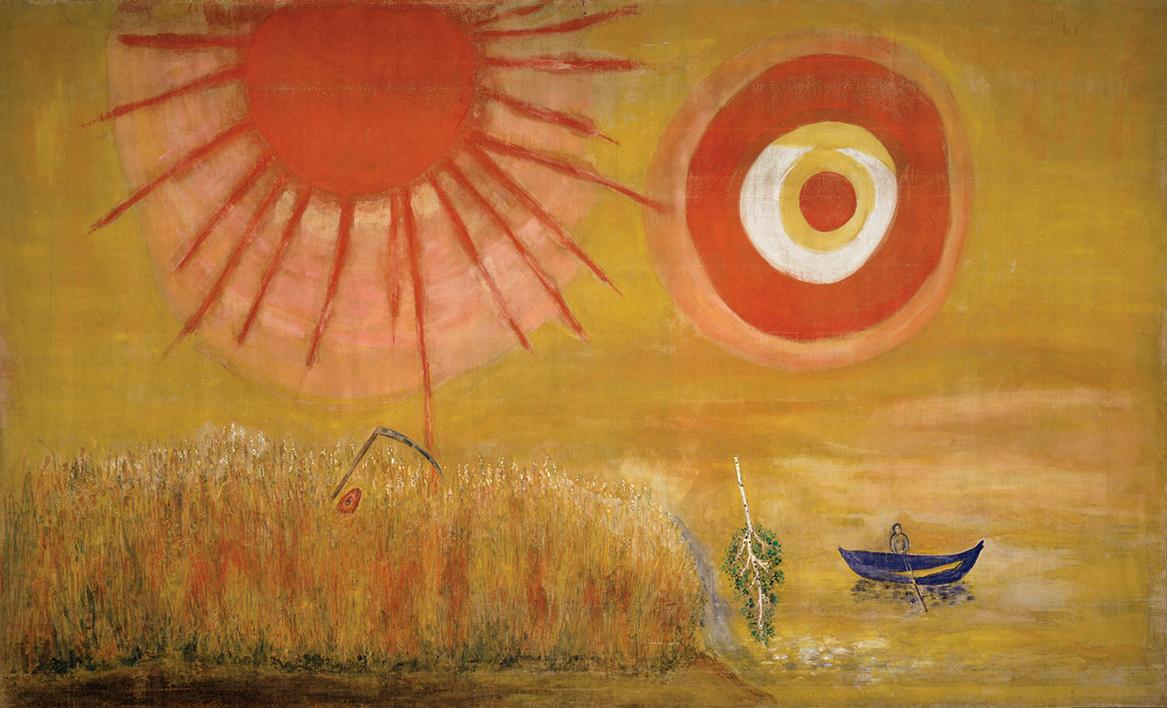 «Пшеничное поле в летний полдень», дизайн Марка Шагала для III сцены балета «Алеко» на музыку Петра Чайковского, 1942