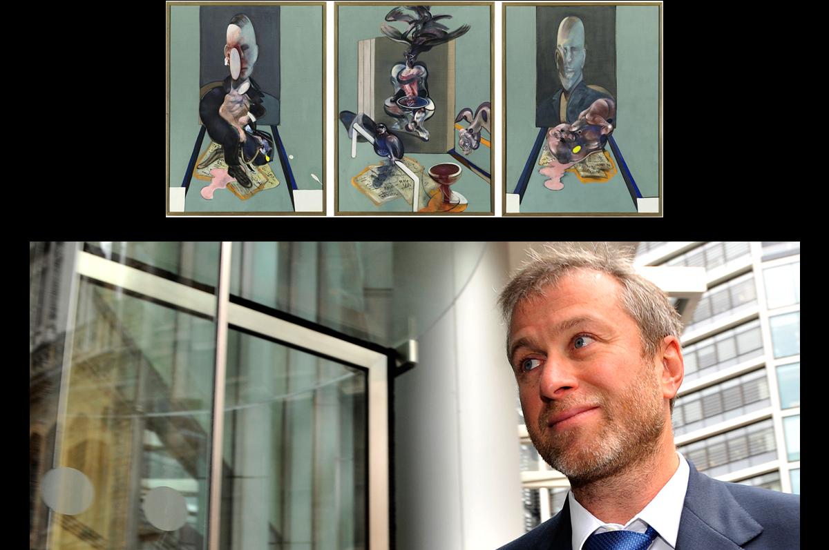 «Триптих» Фрэнсиса Бэкона, 1976. Приобретен российским предпринимателем Романом Абрамовичем 15 мая 2008 года на нью-йоркских торгах Sotheby's за $86,281,000 / фото www.vosizneias.com