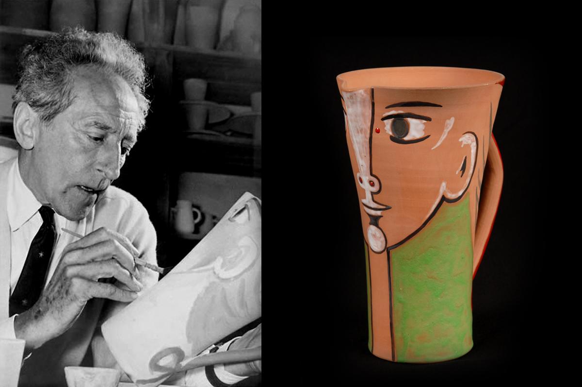 Лицо / Visage. Жан Кокто расписывает кувшин из керамики, 1958