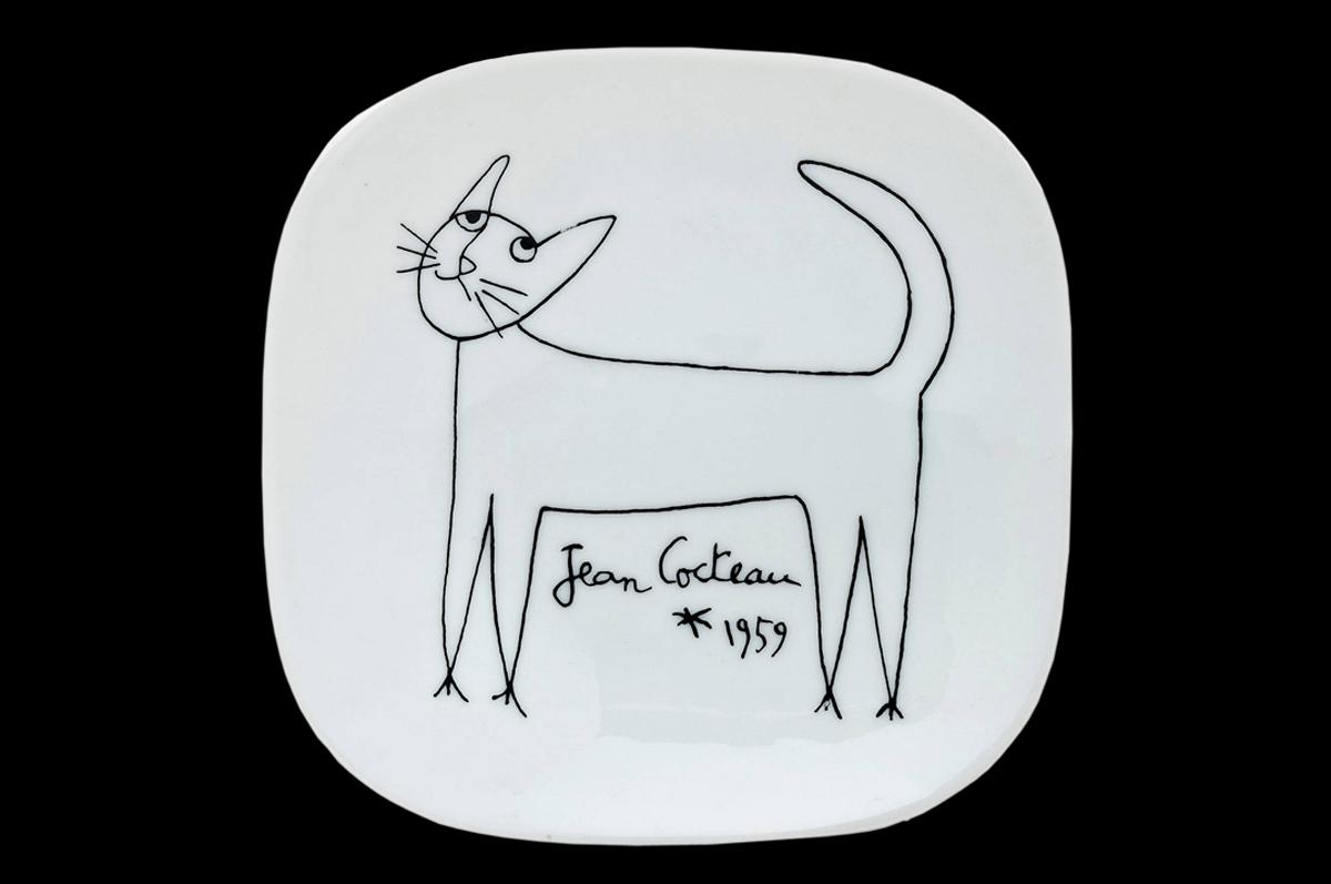 Кот / Chat. Блюдо, керамика. Жан Кокто, 1959