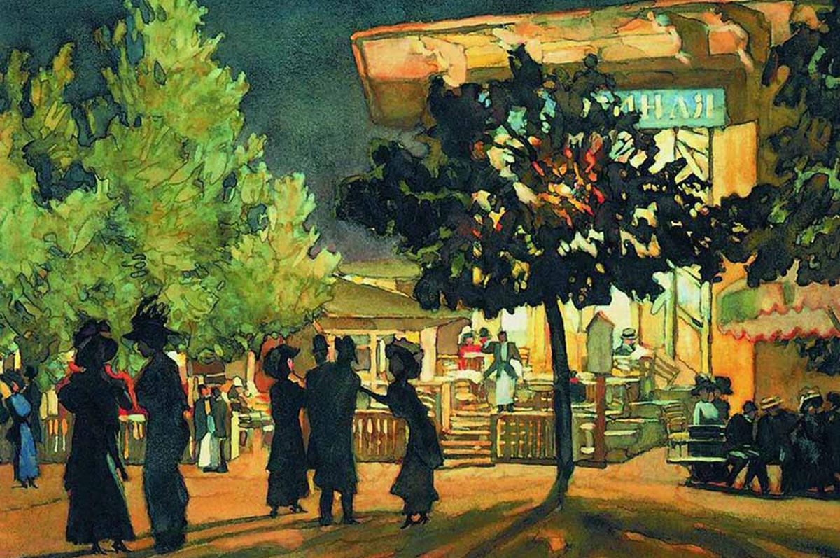 «Ночь. Тверской бульвар» Константина Юона, 1909. Государственная Третьяковская галерея, Москва