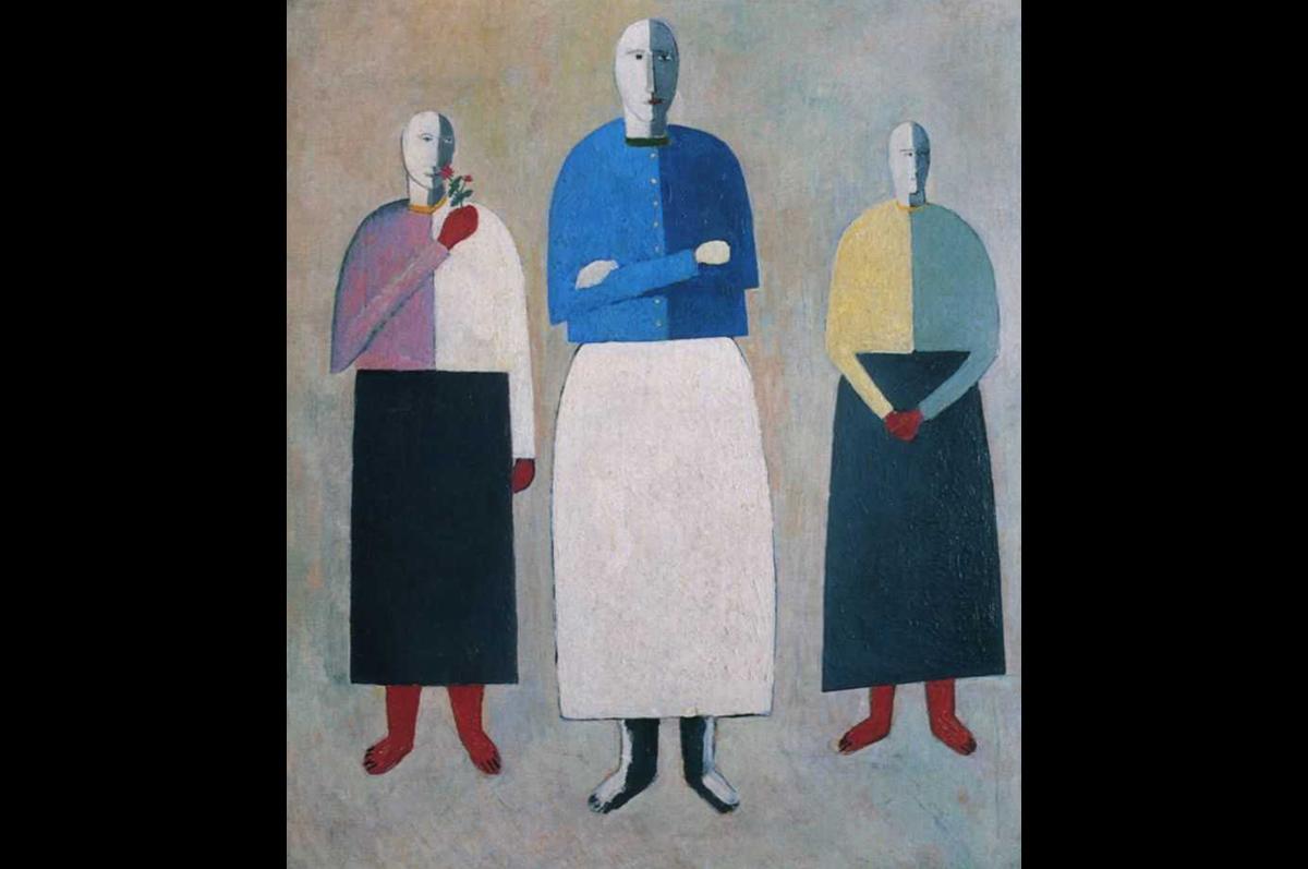 Казимир Малевич. Три девушки, 1928-1932. Фанера, масло / Государственный Русский музей, Санкт-Петербург